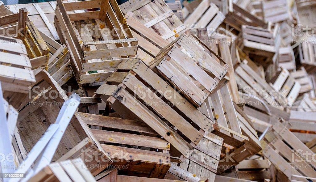 Empty crates stock photo
