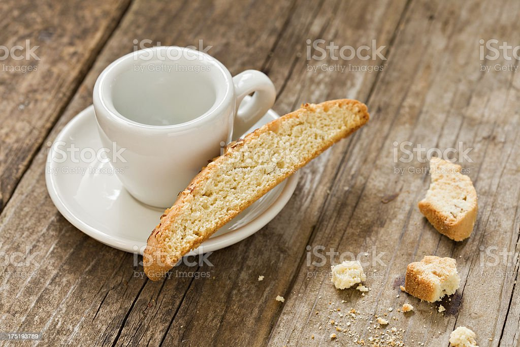 Empty Cup Of Coffee And Biscotti royalty-free stock photo