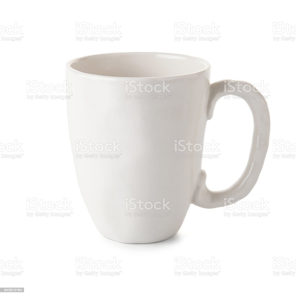 empty cup of coffee or mug on white background stock photo