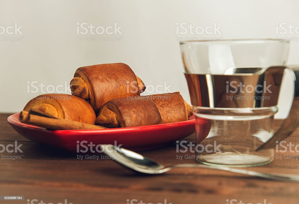 Empty cup of glass with a metal handle stock photo