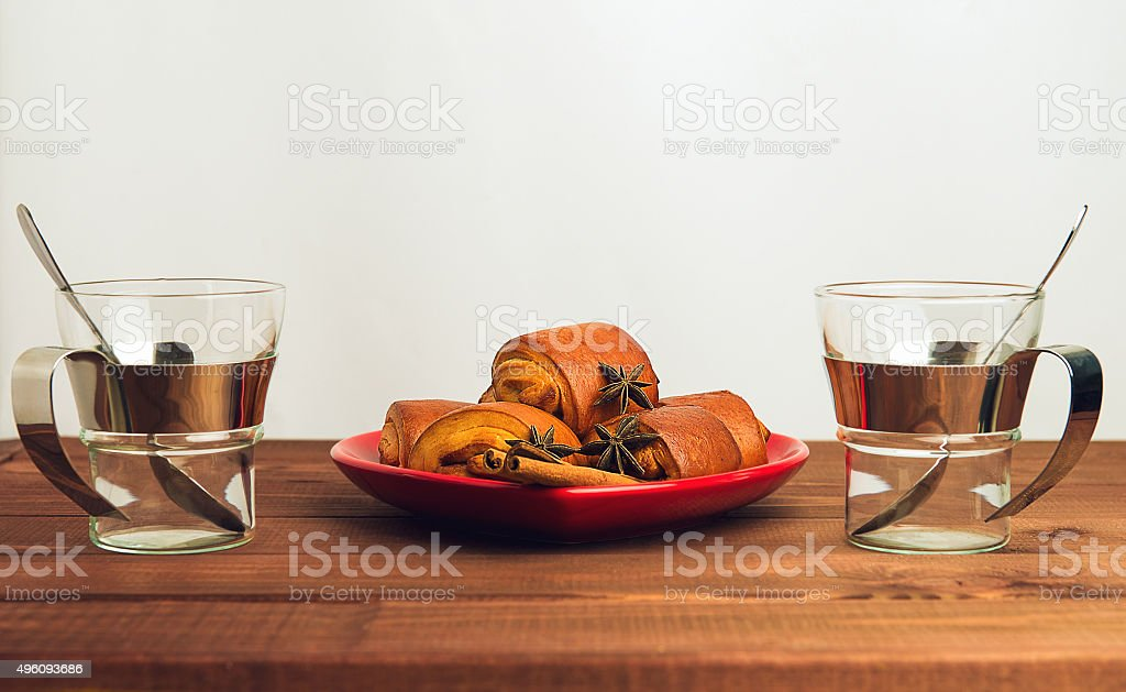 Empty cup of glass with a metal stock photo
