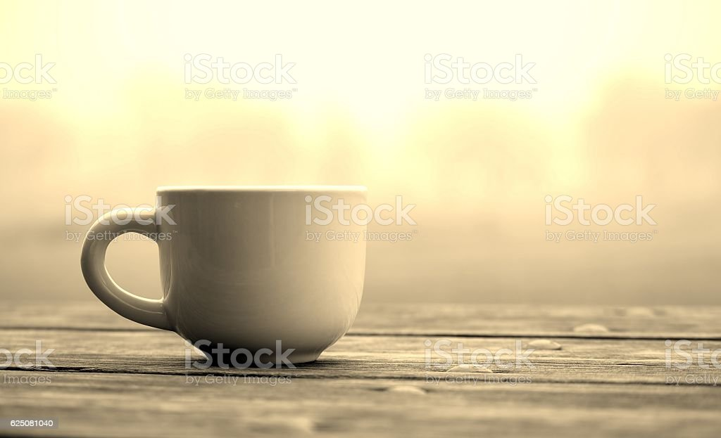 Empty cup on a foggy landscape background.Sepia stock photo