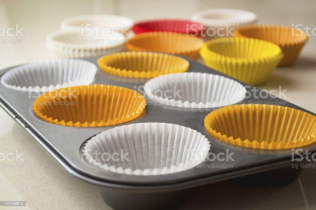 Empty cupcake tray stock photo