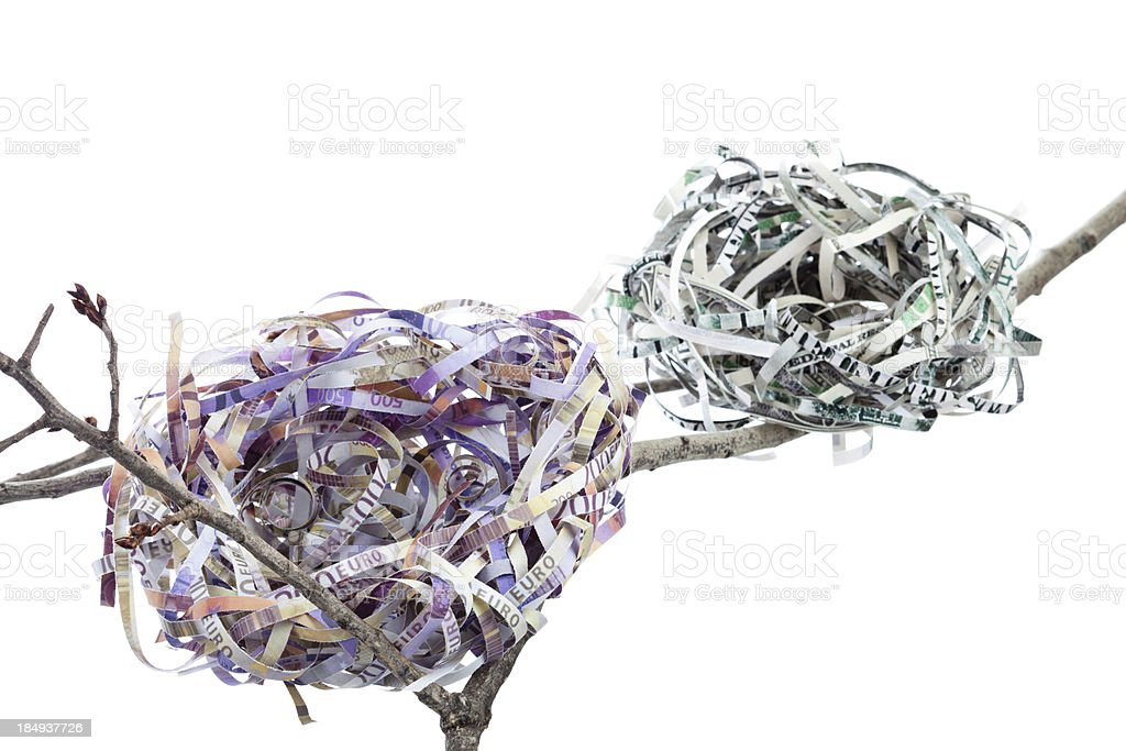 Empty Currency Nests - Broke stock photo