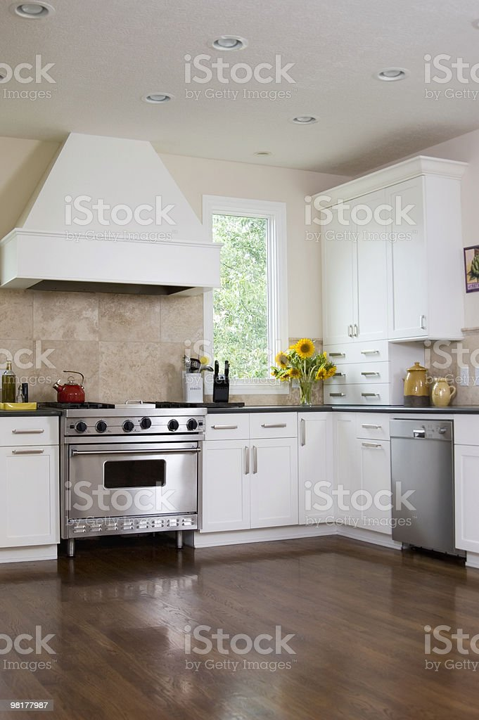 Empty custom kitchen with a designer stove royalty-free stock photo