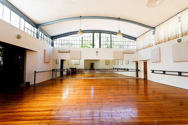 empty dance studio awaits dancers - dance class stock photos and pictures