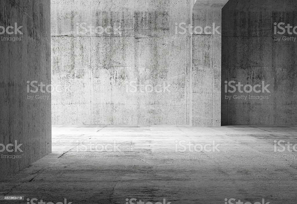 Empty dark abstract concrete rooms with 3rd illustration stock photo