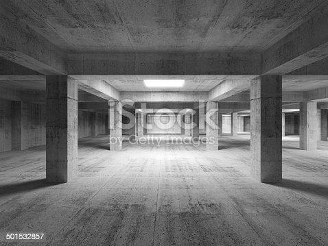 Empty dark abstract industrial concrete interior. 3d illustration
