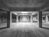 Empty dark abstract industrial concrete interior. 3d illustratio