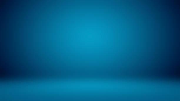bleu foncé vide avec le studio noir de vignette bien employer comme fond - bleu photos et images de collection