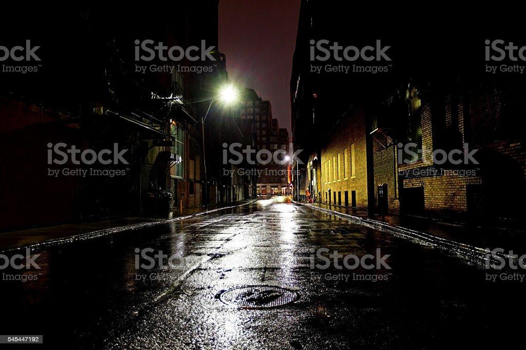 Empty Dark City Street stock photo