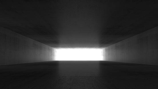 Empty dark concrete corridor perspective, abstract interior background, 3d rendering illustration