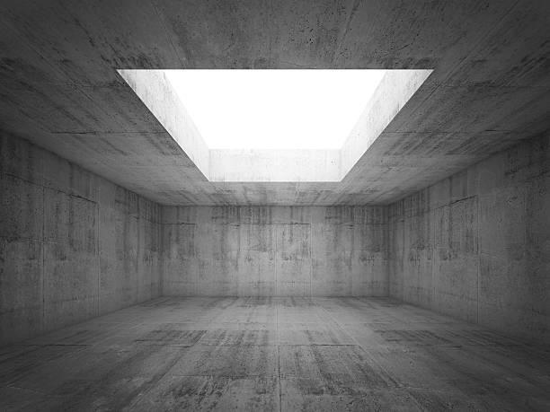 leeren dunklen asphalt raum innenraum mit weißer eröffnung in decke - betondecke stock-fotos und bilder
