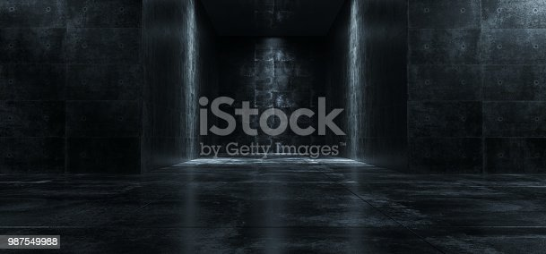 Empty Dark Grunge Concrete Room With Lights On The Walls 3D Rendering Illustration