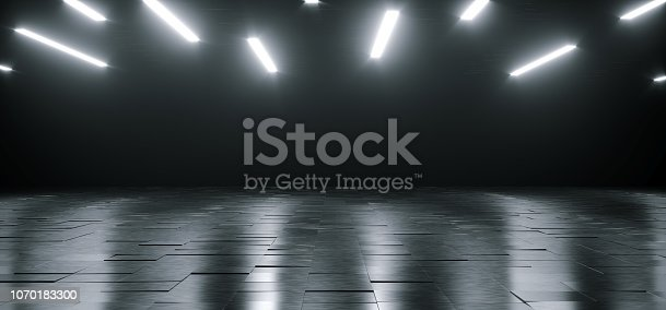 909529832 istock photo Empty Dark Huge Hall Room With Metal Reflective Detailed Floor And Many White Little Led Lights Glowing On Top Empty Space For Text 3D Rendering 1070183300