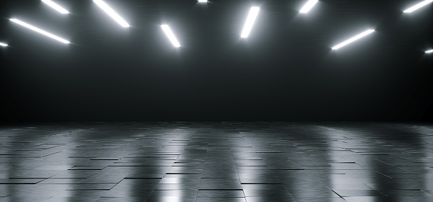istock Empty Dark Huge Hall Room With Metal Reflective Detailed Floor And Many White Little Led Lights Glowing On Top Empty Space For Text 3D Rendering 1070183300