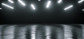 Empty Dark Huge Hall Room With Metal Reflective Detailed Floor And Many White Little Led Lights Glowing On Top Empty Space For Text 3D Rendering