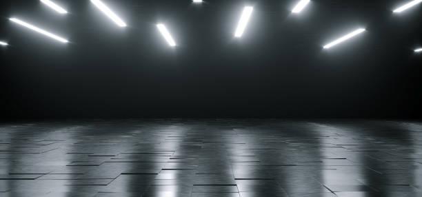 空的黑暗巨大的大廳房間與金屬反光詳細的地板和許多白色的小指示燈發光頂部空的空間文本3d 渲染 - 霓虹色 個照片及圖片檔