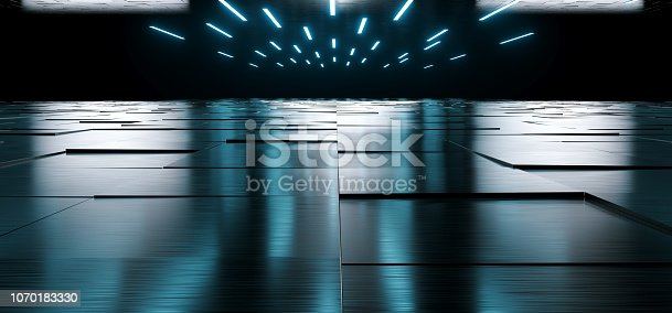909529832 istock photo Empty Dark Huge Hall Room With Metal Reflective Detailed Floor And Many White Little Led Lights Glowing On Top Empty Space For Text 3D Rendering 1070183330