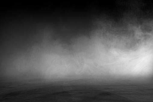 empty dark room abstract fog smoke glow rays wall and floor interior displays product