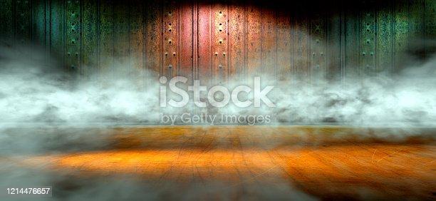 621925576 istock photo Empty dark room and fog.3d illustration 1214476657