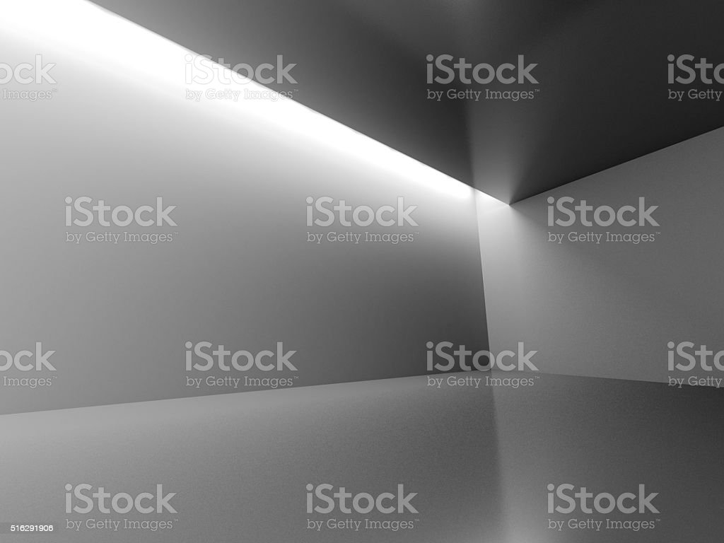 Empty Dark Room With Decorate Lights. Interior Background stock photo