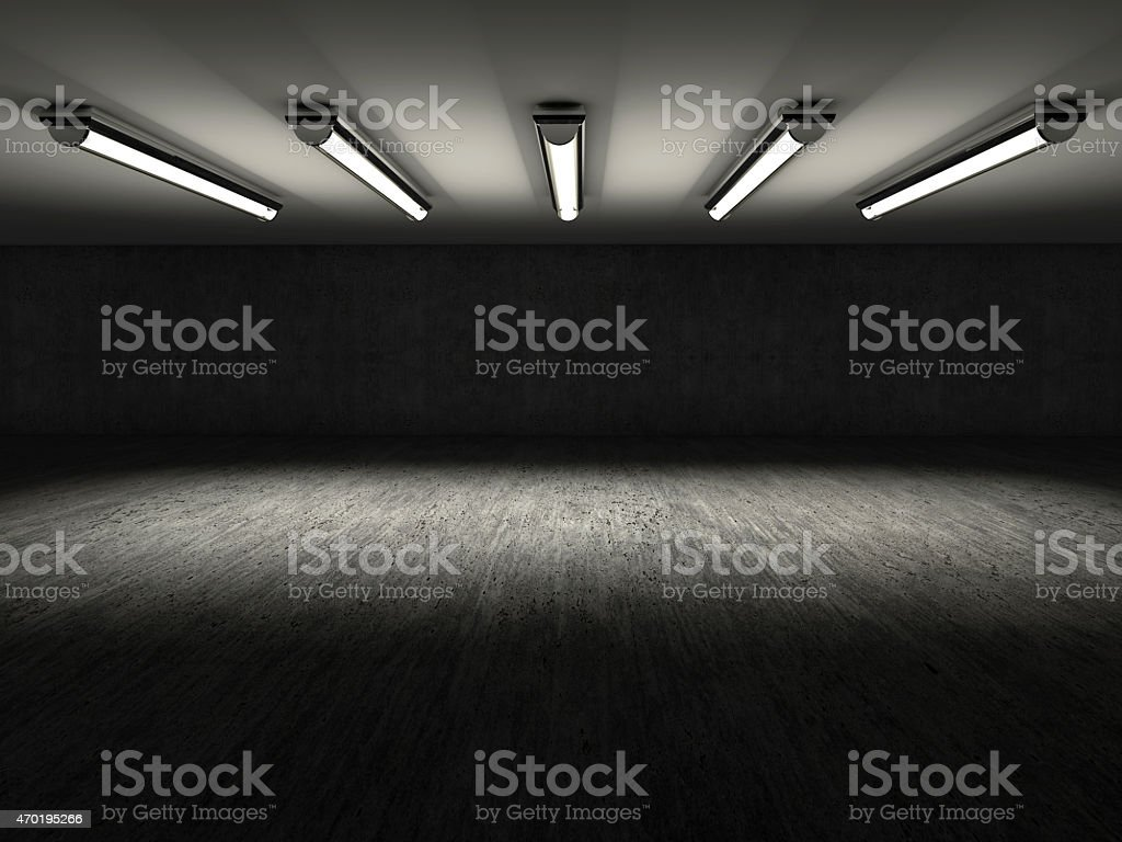 Empty dark showroom with 3D lights stock photo