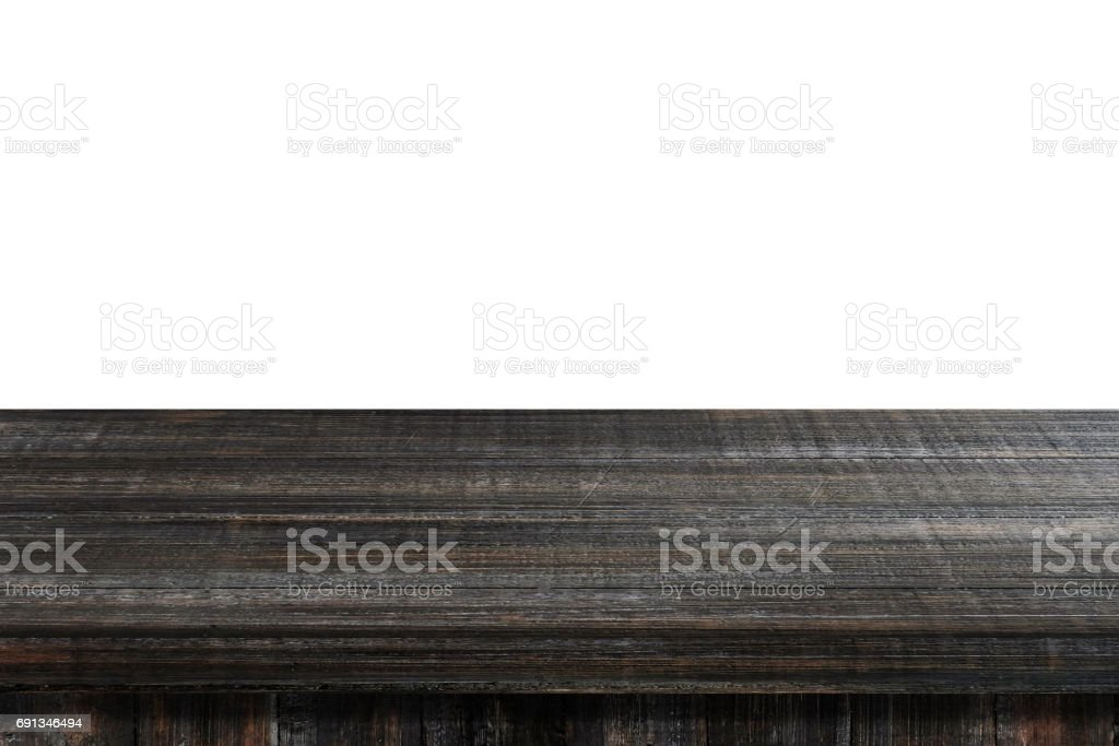 Empty dark vintage wooden table isolated on white background, for product display montage стоковое фото