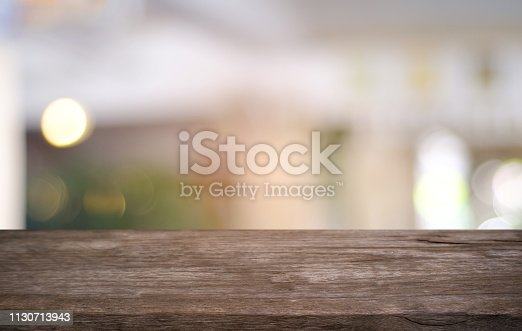 1077234988istockphoto Empty dark wooden table in front of abstract blurred bokeh background of restaurant . can be used for display or montage your products.Mock up for space. 1130713943