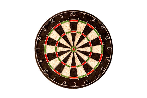 Empty dart board on a white background stock photo