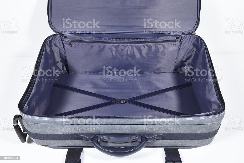 empty denim suitcase stock photo