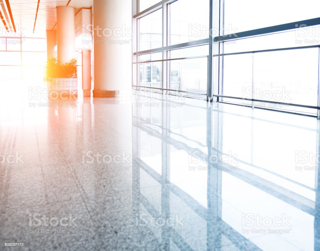 Empty departure lounge in airport stock photo
