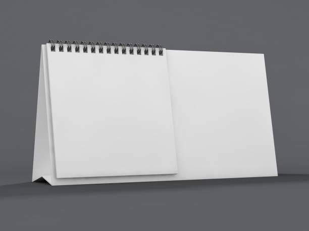 leerer schreibtisch kalender auf tisch. mock-up-design-konzept. 3d - menüplanung vorlagen stock-fotos und bilder