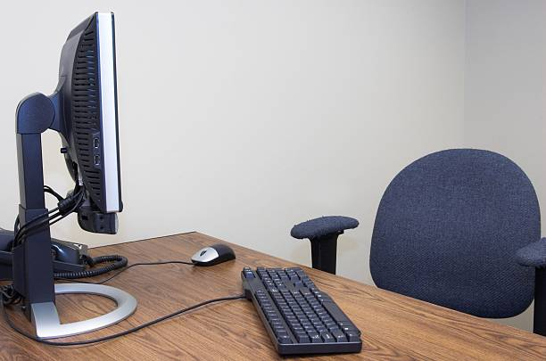 Image result for empty computer chair at desk picture