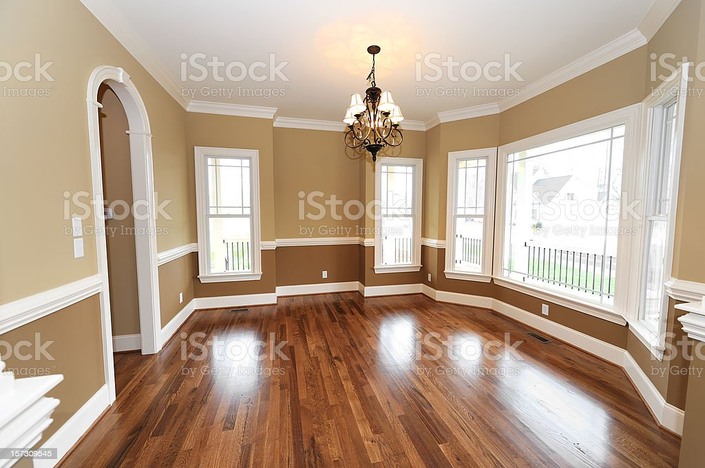 A empty dining room in a house stock photo