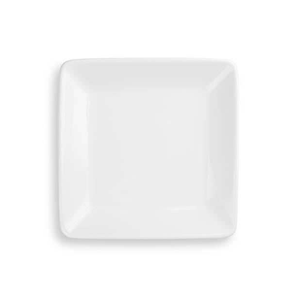 empty dinner plate isolated on white with clipping path - kare kompozisyon stok fotoğraflar ve resimler