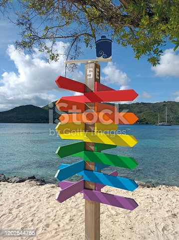 istock Empty direction road colorful wooden signs with sand beach, turquoise waters and sky on background. Funny signpost with empty space for writing. 1202544755