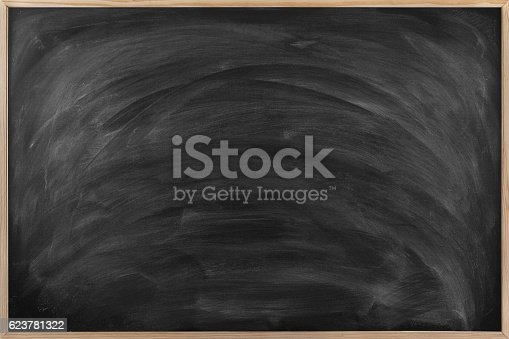 istock Empty Dirty Blackboard with wood frame. 623781322