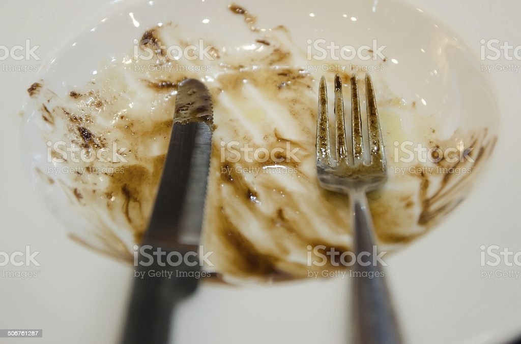 Empty dish after food on the table stock photo