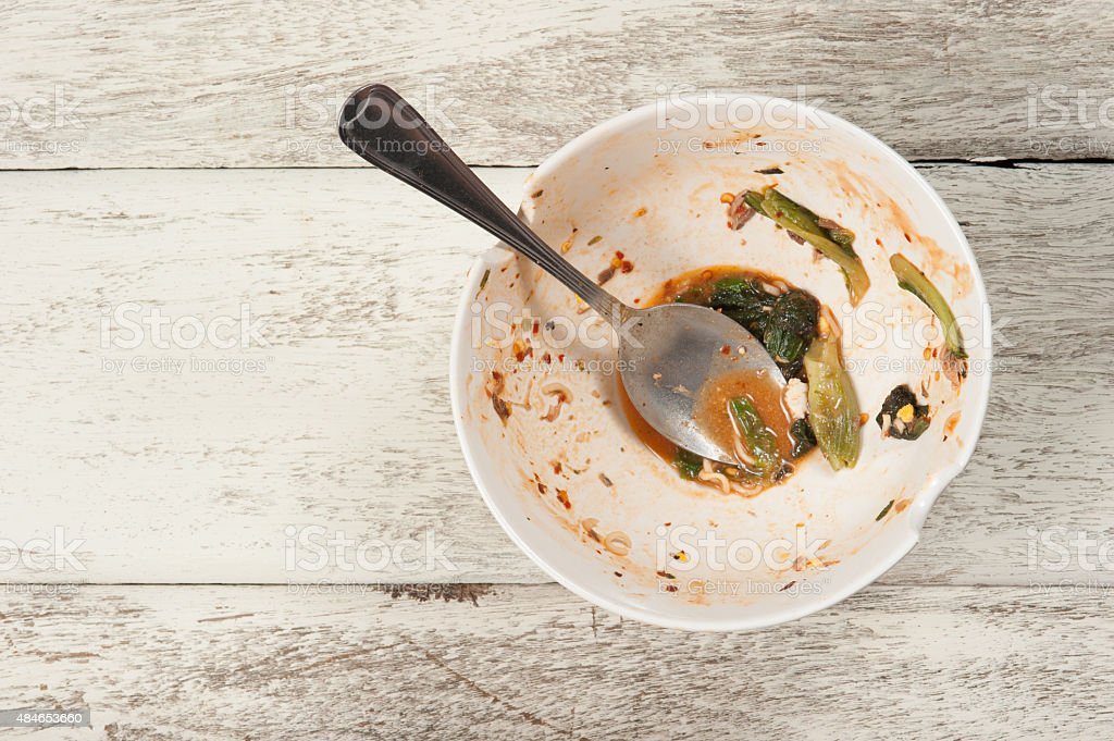 Empty dish after food on white wood stock photo