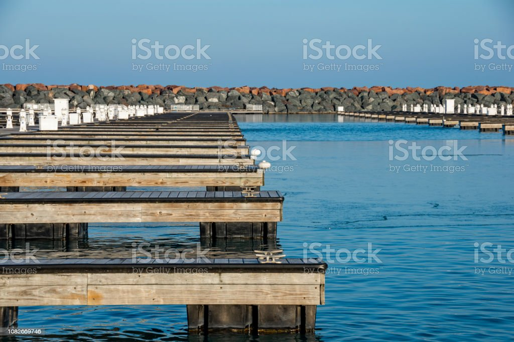 Empty docks in winter stock photo