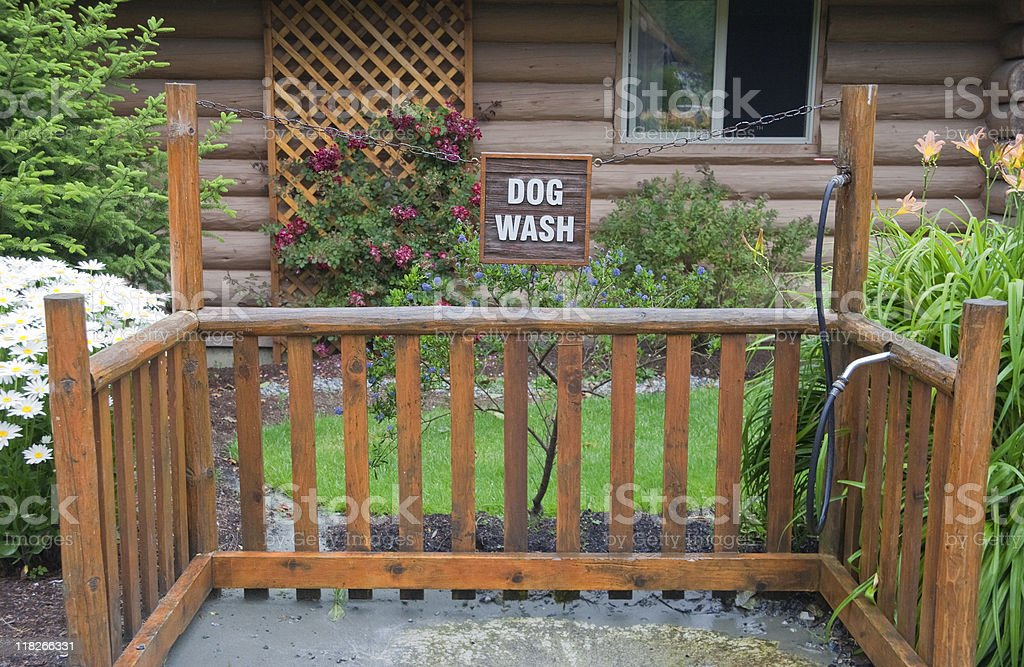 Empty Dog Wash - in front of Chalet stock photo