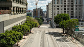 Downtown Los Angeles sits empty as people are instructed to stay home during the Covid-19 Coronavirus pandemic of 2020.