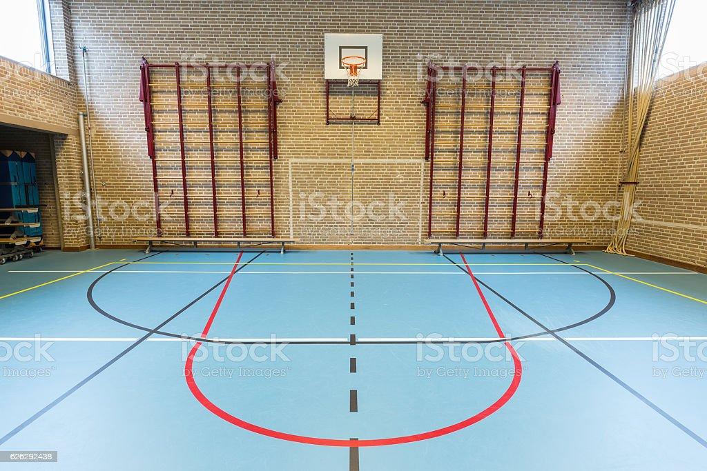 Empty dutch gymnasium for school sports stock photo