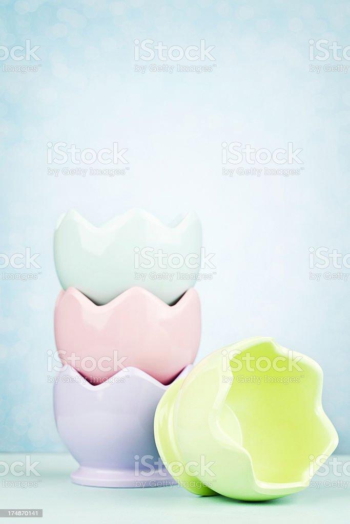 Empty Easter Eggcups royalty-free stock photo