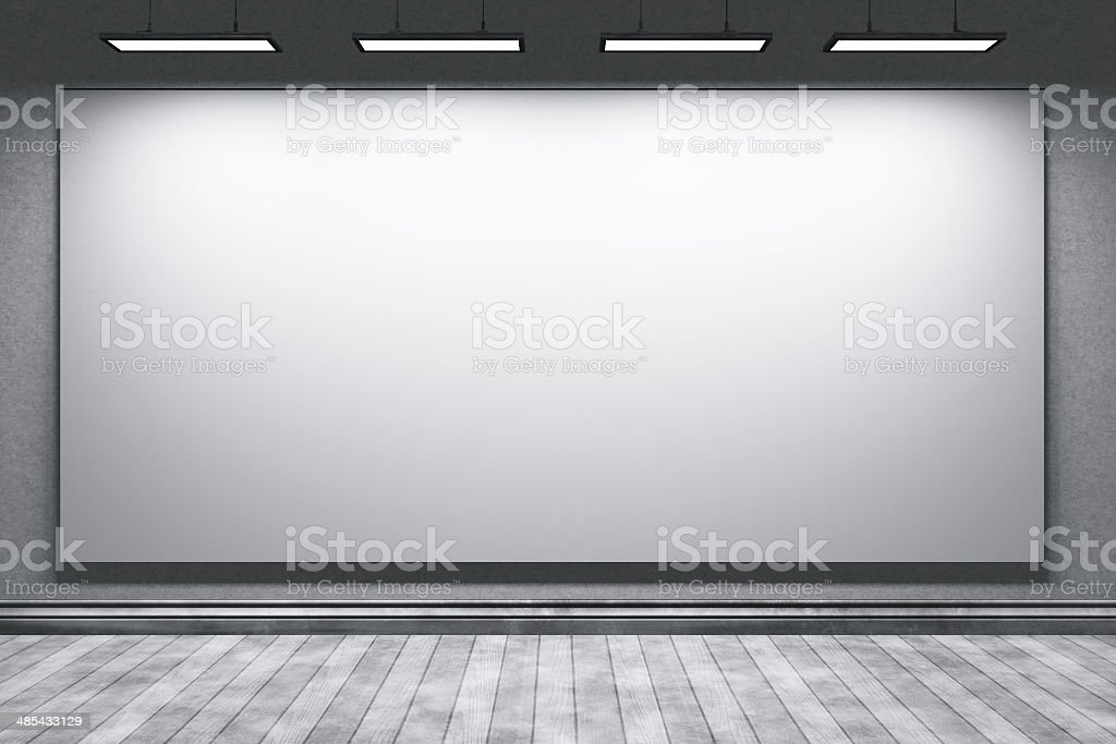 Empty education office room with big projection screen stock photo