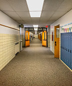 Long empty school hallway ready for students to come back to school