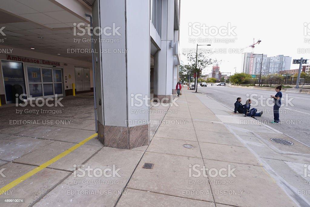 Philadelphia, PA, USA - September 25, 2015: Medical staff is seen...