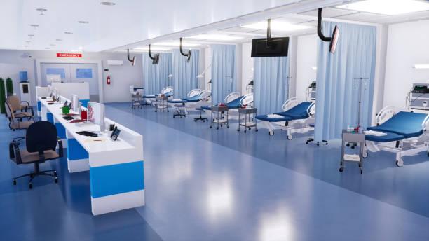 現代医院3d の空の緊急の部屋の内部 - 病棟 ストックフォトと画像