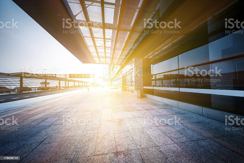 empty entrance of airport stock photo